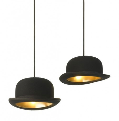 Magritte Inspired Bowler Hat Lamps