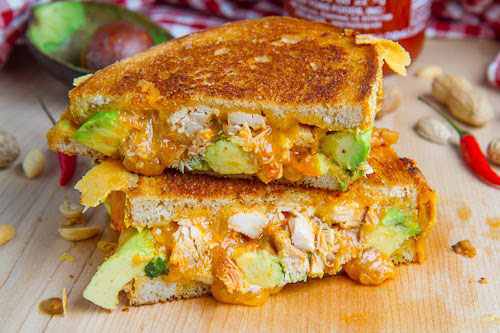 The Spicy Peanut Chicken Grilled Cheese from Closet Cooking